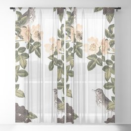 Blackberry Spring Garden - Birds and Bees Cream Flowers Sheer Curtain