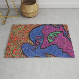Face and Flames Rug