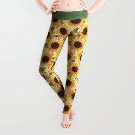 Happy Yellow Sunflowers Leggings