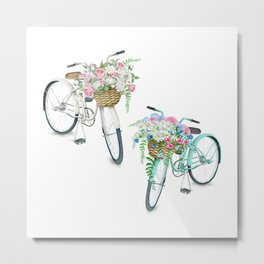 Two Vintage Bicycles With Flower Baskets Metal Print