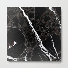 Abstract black white gray modern marble Metal Print