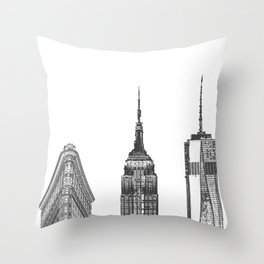 New York City Iconic Buildings-Empire State, Flatiron, One World Trade Throw Pillow