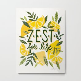 Zest for Life – Yellow & White Palette Metal Print
