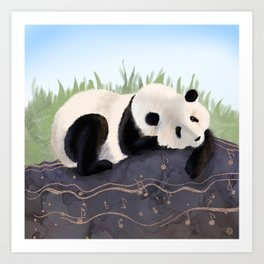 The Giant Panda Humming a Happy Song (The Musical Panda) Art Print