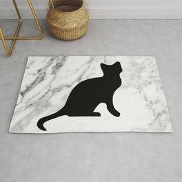 Marble black cat Rug
