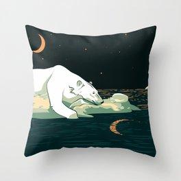 Polar Bear and the Moon Throw Pillow