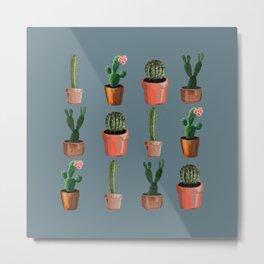Various Cacti Blue Metal Print