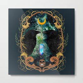 Raven Moon Oracle With Crystal Pendulum Metal Print