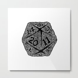 d20 - white on black - icosahedron doodle pattern Metal Print