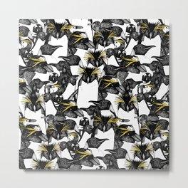 just penguins black white yellow Metal Print