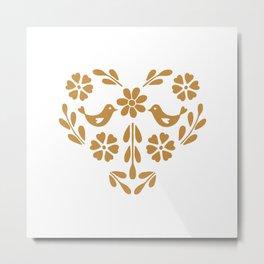 Golden heart shaped floral and bird Metal Print