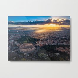 Daybreak above the Colosseum in Rome Metal Print