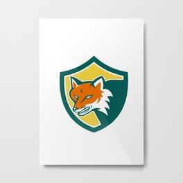 Red Fox Angry Head Shield Retro Metal Print