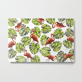 Flamingo pattern with Monstera leaves Metal Print