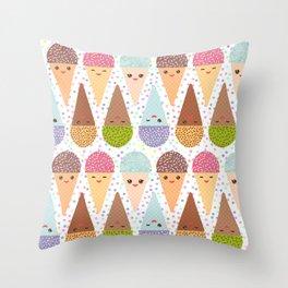Kawaii mint raspberry chocolate Ice cream waffle cone with pink cheeks and winking eyes Throw Pillow