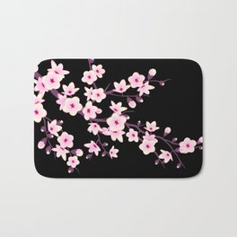 Cherry Blossom Pink Black Bath Mat