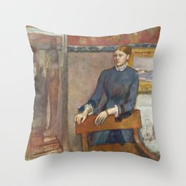 Helene Rouart in her Father's Study by Edgar Degas Throw Pillow