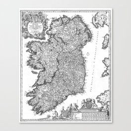 Vintage Map of Ireland (1716) BW Canvas Print