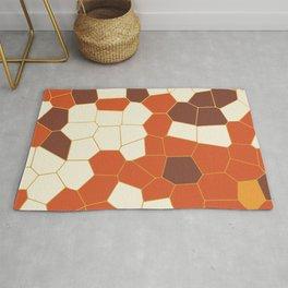 Hexagon Abstract Orange_Cream Rug