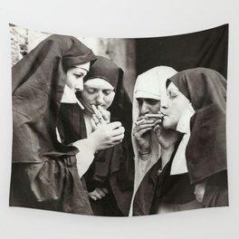 Nuns Smoking Wall Tapestry