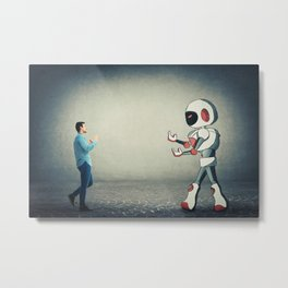 fight against robot Metal Print