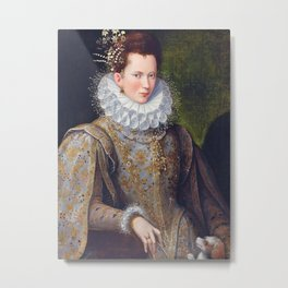 Portrait of Court Lady with Dog Metal Print