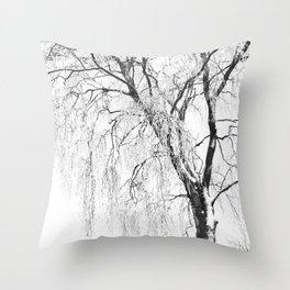White snow tree Throw Pillow