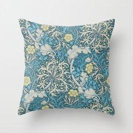 William Morris,art nouveau pattern, seaweed,blue,florals,vintage Throw Pillow