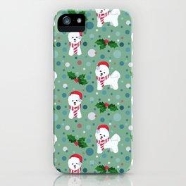 Bichon Frise dog Christmas pattern iPhone Case