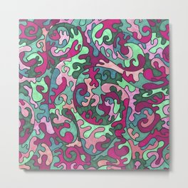 Pink and Green Puzzle Pieces Pattern Metal Print