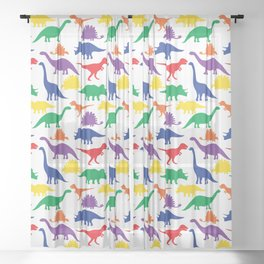 Dinosaurs - White Sheer Curtain