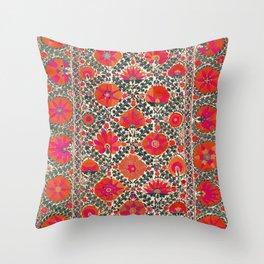 Kermina Suzani Uzbekistan Colorful Embroidery Print Throw Pillow