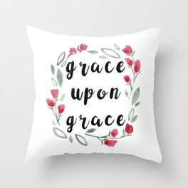 Grace Upon Grace, Floral Watercolor Painting Throw Pillow