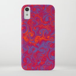 INFERNO deep coral and periwinkle abstract flames iPhone Case