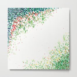Floral Mosaic Watercolor Painting Metal Print