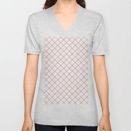Pantone Living Coral Thin Line Stripe Grid (Pinstripe Pattern) on White Unisex V-Neck