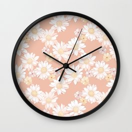 Daisies - White and Blush Pink Bloom Wall Clock