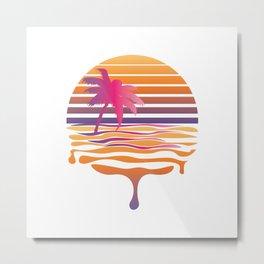 Retro striped sun and palm Metal Print