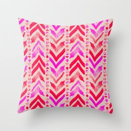 Tribal Scribble Kilim in Neon Coral + Neutral Throw Pillow