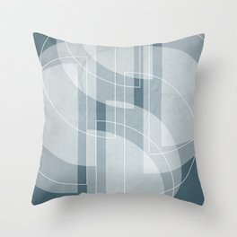 Abstract Semi Circle Design in Teal Throw Pillow