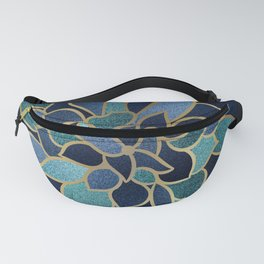 Art Designs, Floral Prints, Navy Blue, Teal and Gold Fanny Pack