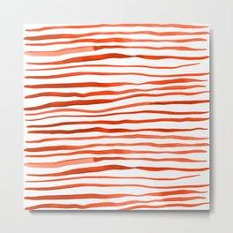Irregular watercolor lines - orange Metal Print
