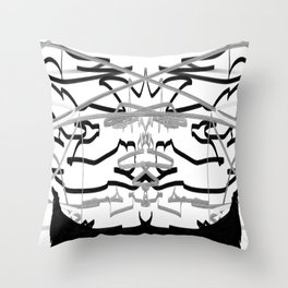 Artistic bat in the darkness , Abstract, art, Gray, black,  graffity, points, bat Throw Pillow