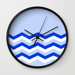 Geometric abstract - zigzag blue and white. Wall Clock
