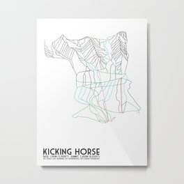 Kicking Horse, BC, Canada - Minimalist Trail Map Metal Print