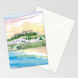 Lindos Rhodes Fortress at Sunset Stationery Cards