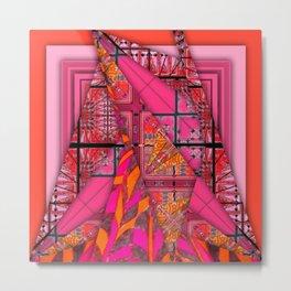 number 232 orange pink pattern Metal Print