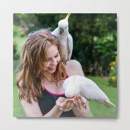 Feeding Wild Cockatoos, Royal Botanic Gardens, Sydney Metal Print