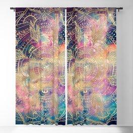Stylish Gold mandala watercolor & Nebula Colorful Design Blackout Curtain