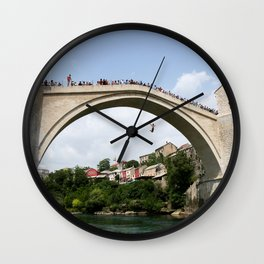 Mostar Bridge Jumper Wall Clock